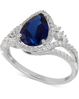 Lab-created Sapphire (2-3/8 Ct. T.w.) And White Sapphire (3/8 Ct. T.w.) Ring In Sterling Silver