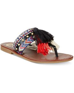 Brice Embellished Fringe Thong Sandals
