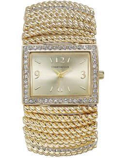 Gold-tone Stretch Bracelet Watch 30x34mm