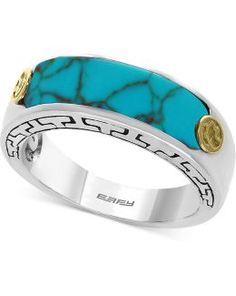 Men's Manufactured Turquoise Ring (20 X 6mm) In Sterling Silver And 18k Gold-plate
