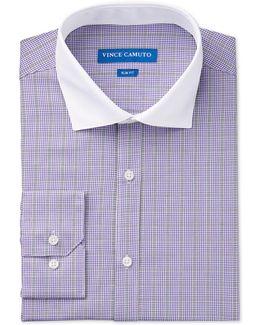 Men's Slim-fit Purple Check Dress Shirt