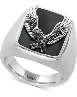 Men's Onyx (16-3/4 X 13-1/2mm) Eagle Ring In Sterling Silver