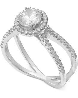 Cubic Zirconia Crisscross Ring In Sterling Silver