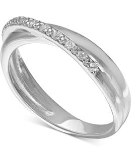Cubic Zirconia Pavé Crossover Ring In Sterling Silver