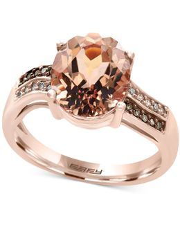 Morganite (3-1/10 Ct. T.w.) And Diamond Accent Ring In 14k Rose Gold.