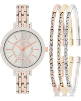 Women's Two-tone Bracelet Watch 34mm And Crystal Accented Bracelet Set In016srg