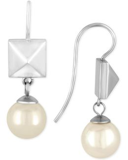 Silver-tone Imitation Pearl And Pyramid Stud Drop Earrings