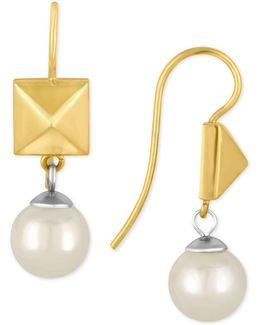 Two-tone Imitation Pearl And Pyramid Drop Earrings