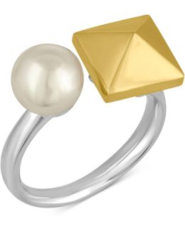 Two-tone Imitation Pearl And Pyramid Statement Ring
