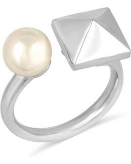 Silver-tone Imitation Pearl And Pyramid Cuff Ring