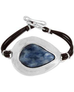Silver-tone Blue Stone Black Leather Toggle Bracelet