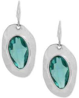 Silver-tone Blue Stone Sculptural Drop Earrings