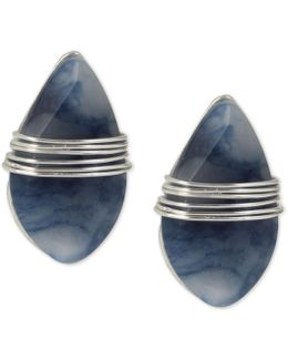 Silver-tone Blue Stone Wrapped Stud Earrings