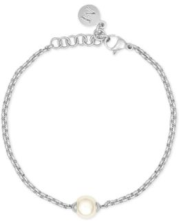 Silver-tone Imitation Pearl Bracelet
