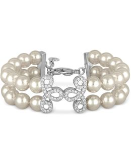 Sterling Silver Imitation Pearl And Crystal Pavé Layer Bracelet