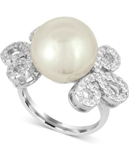 Sterling Silver Imitation Pearl And Pavé Ring