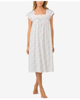 Eyelet-trimmed Printed Cotton Knit Nightgown
