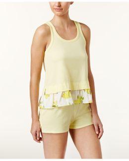 Flounce Top And Boxer Shorts Knit Pajama Set
