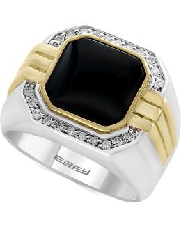Men's Onyx (10 X 10mm) And Diamond (1/5 Ct. T.w.) In Sterling Silver And 14k Gold