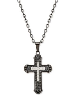 Men's Diamond Cross Pendant Necklace (1/2 Ct. T.w.) In Stainless Steel With Black Ion-plating