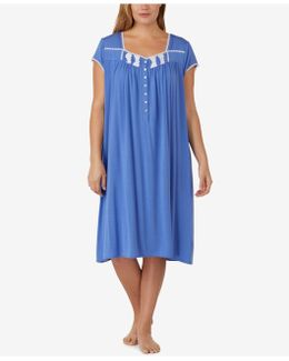 Plus Size Lace-trimmed Knit Waltz-length Nightgown