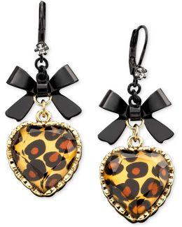 Leopard Heart Bow Drop Earrings