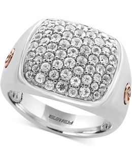 Men's White Sapphire Cluster Ring (2 Ct. T.w.) In Sterling Silver And 18k Rose Gold