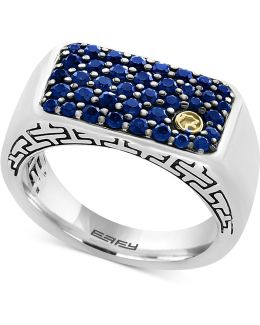 Men's Sapphire Ring (1-3/8 Ct. T.w.) In Sterling Silver, 18k Gold And Black Rhodium