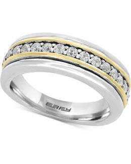 Men's White Sapphire Band (3/4 Ct. T.w.) In Sterling Silver And 18k Gold