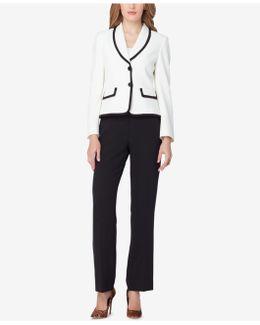 Shawl-collar Colorblocked Pantsuit