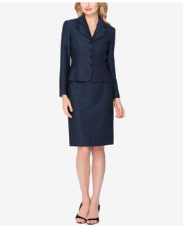 Petite Layered-collar Shimmer Skirt Suit
