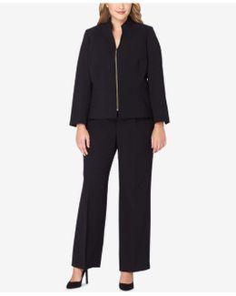 Plus Size Zip-up Peplum Pantsuit