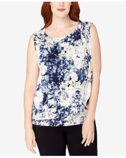Plus Size Printed Layered Top