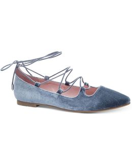 Endless Summer Velvet Lace-up Flats