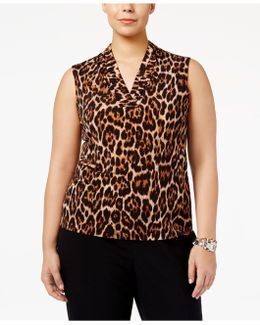 Plus Size Pleated Animal-print Shell
