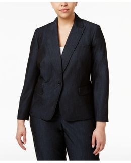 Plus Size Denim Twill One-button Blazer
