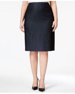 Plus Size Denim Twill Pencil Skirt