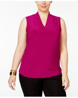 Plus Size Pleated Shell