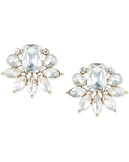 Gold-tone Crystal Cluster Stud Earrings