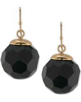 Gold-tone Jet Faceted Round Bead Drop Earrings
