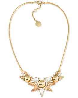 Gold-tone Multi-crystal Statement Necklace