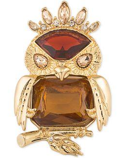 Gold-tone Stone Owl Pin