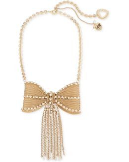 Gold-tone Pavé Fringed Mesh Bow Necklace