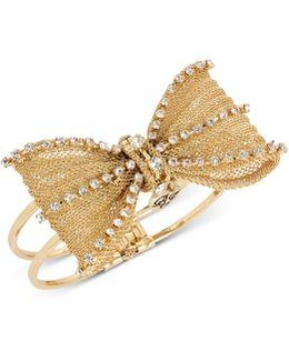 Mesh Crystal Bow Hinged Bangle Bracelet