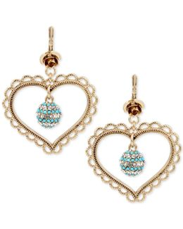 Gold-tone Clear And Blue Crystal Heart Drop Earrings