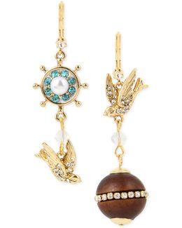 Gold-tone Blue And Clear Crystal Mismatch Drop Earrings