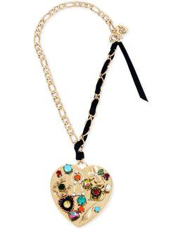 Gold-tone Black Ribbon Multi-charm Heart Pendant Necklace