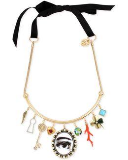 Gold-tone Multi-charm Black Ribbon Choker Necklace