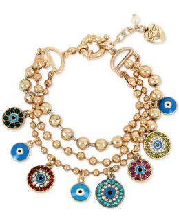 Gold-tone Multi-charm Triple Row Bracelet