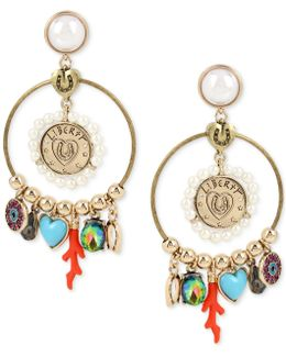 Gold-tone Multi-charm Drop Earrings